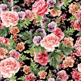 Het heldere waterverf naadloze patroon met pioen, rozen en viooltje bloeit, bessen royalty-vrije illustratie
