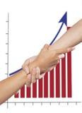Het helpen van hand en grafiek Stock Foto's