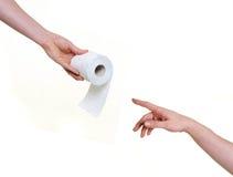 Het helpen van hand met toiletpapier Royalty-vrije Stock Foto