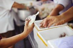 Het helpen van Mensen met Honger met Vriendelijkheid: het concept het levensproblemen, honger in de maatschappij: concept het voe stock afbeeldingen