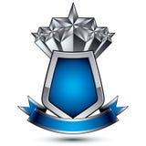 Het heraldische vectormalplaatje met pentagonaal zilver speelt geplaatst ove mee Royalty-vrije Stock Afbeeldingen
