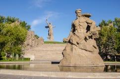 Het herdenkingscomplex op Mamayev Kurgan in Volgograd, beeldhouwer Yevgeny Vucetic Het gebied van stock fotografie