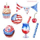 Het herdenkingsdecor van de dagpartij Rode, witte en blauwe waterverfhand geschilderde desserts, die op witte achtergrond worden  vector illustratie