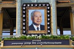 Het herdenkingsportret van Norodom Sihanouk van de koning Stock Foto's