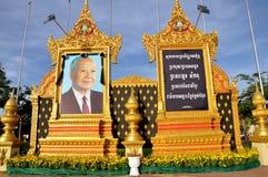 Het herdenkingsportret van Norodom Sihanouk van de koning Stock Foto