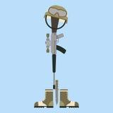 Het herdenkingssymbool van de slagveld dwars Amerikaanse eer van een gevallen geweer van de de militair modern oorlog van de V.S. Royalty-vrije Stock Afbeelding
