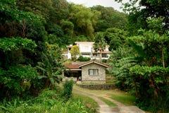 Het herenhuis in de wildernissen van Seychellen. stock afbeeldingen
