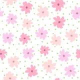 Het herhalen om vlekken en bloemen met ruwe borstel met de hand worden getrokken die Vrouwelijk bloemen naadloos patroon Schets,  stock illustratie