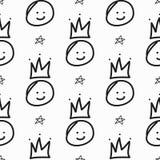 Het herhalen van sterren en smileys met met de hand getrokken kronen Grappig naadloos patroon vector illustratie
