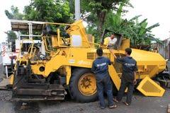 Het herstellen van asfaltafwerker Royalty-vrije Stock Afbeelding