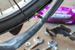 Het herstellen van de fiets Royalty-vrije Stock Fotografie