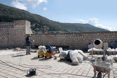 Het herstellen van de Ommuurde Stad van Dubrovnic in Kroatië Europa Dubrovnik wordt een bijnaam gegeven `-Parel van Adriatic Stock Foto