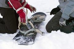 Het herstellen van ski-bindt stock foto's