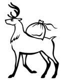 Het hert draagt zijn rug een zak van giften Stock Foto