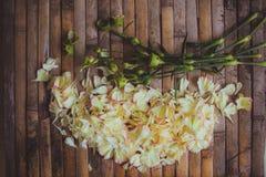 Het hertkader van bloemblaadjesbloemen in vorm van de decoratie van het bloemhuwelijk Stock Foto