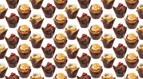 Het het behangpatroon van Cupcakes herhaalt Stock Fotografie