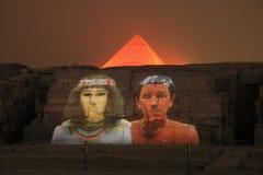 Het het de piramidegeluid en licht van Giza tonen royalty-vrije stock afbeeldingen