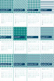 Het het wintertalingsblauw en waarnemingscentrum kleurden geometrische patronenkalender 2016 Stock Afbeelding