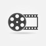 Het het zwarte embleem of pictogram van het filmbroodje Royalty-vrije Stock Foto's