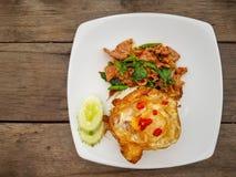 Het hete en kruidige gebraden vergiste varkensvlees diende met witte rijst, knapperig gebraden ei, gesneden komkommer stock foto