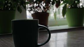 Het hete gekookte water wordt gegoten in een kop thee stock footage