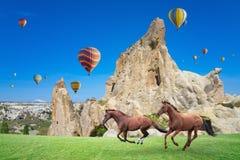 Het hete lucht ballooning en twee paarden die in Cappadocia, Turkije lopen stock afbeelding