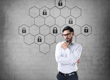 Het hexagonale concept van de slotveiligheid Royalty-vrije Stock Afbeelding
