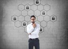 Het hexagonale concept van de slotveiligheid Stock Afbeeldingen