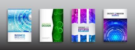 Het high-tech concept van het dekkingsontwerp Futuristische bedrijfslay-out royalty-vrije illustratie