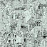 Het historische Italiaanse naadloze patroon van de Architectuurcollage Stock Fotografie