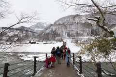 Het historische Japanse dorp shirakawa-gaat bij de winter Stock Afbeeldingen