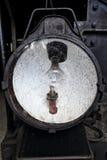 Het historische licht van de spoorwegmotor met bol en extra kerosinelamp achter glasdekking Royalty-vrije Stock Afbeelding