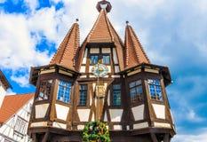 Het historische Stadhuis in Michelstadt, Odenwald, bouwde de 1484th Royalty-vrije Stock Foto's