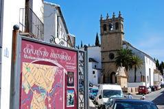 Het historische teken van de centruminformatie, Ronda, Spanje stock fotografie