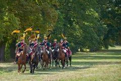 Het historische weer invoeren van Slag van de Drie Keizers in slavkov-Austerlitz, cavalery gaat op de aanval royalty-vrije stock foto