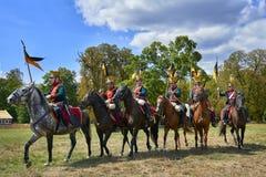 Het historische weer invoeren van Slag van de Drie Keizers in slavkov-Austerlitz, cavalery gaat op de aanval royalty-vrije stock fotografie