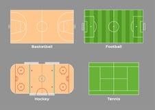 Het hockey van de basketbalvoetbal en tennisbaanvector/sport/hoogste mening, stock illustratie