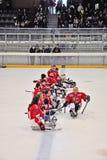 Het Hockey van de Slee van het ijs Stock Afbeeldingen