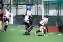 Het hockey van Gibraltar - Grammatici HC tegenover Malaga Spanje Stock Afbeeldingen