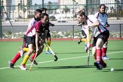 Het hockey van Gibraltar - Grammatici HC tegenover Malaga Spanje Stock Fotografie