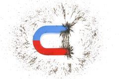 Het hoefijzer magneet en ijzer indienen Stock Foto