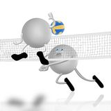 Het hof en de strijd van het volleyball Stock Foto