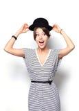 Het hoge portret van de manierlook model van de glamour het modieuze mooie jonge vrouw Stock Foto