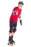 Het hogere mens gealigneerde schaatsen Stock Foto