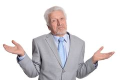 Het hogere mens stellen ge?soleerd op witte achtergrond royalty-vrije stock foto