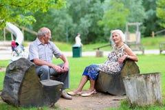 Het hogere paar ontspannen in het park Royalty-vrije Stock Foto's