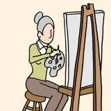 Het hogere vrouw schilderen Stock Afbeelding