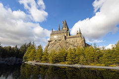 Het Hogwarts-kasteel in Universele Parken & de Universele Studio's Japan van de Toevlucht als thema hebben park in Osaka royalty-vrije stock foto