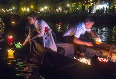 Het Hoi An Full Moon Lantern-Festival Stock Foto's
