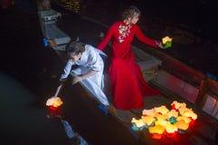 Het Hoi An Full Moon Lantern-Festival Royalty-vrije Stock Afbeeldingen